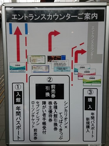 鉄道博物館のエントランスカウンターの場所案内(前売券引換・年間パスポート)