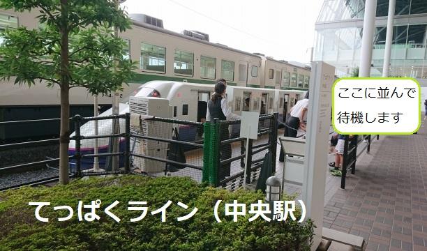 鉄道博物館てっぱくライン中央駅の待機列